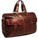 "Jack Georges Voyager Large 22"" Travel Leather Duffel Bag in Brown"