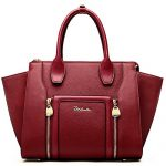 BOSTANTEN Women's Leather Designer Handbags Shoulder Tote Top-Handle Bags on Clearance Wine Red