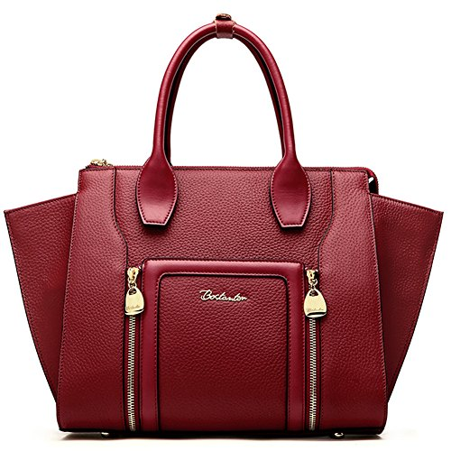 BOSTANTEN Women's Leather Designer Handbags Shoulder Tote Top-Handle Bags on Clearance Wine Red