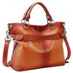 Heshe Women's Leather Shoulder Handbags Tote Top-handle Handbag Crossbodies Bags Satchel for Ladies(Sorrel)