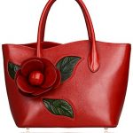 Pifuren Contemporary Inspired Designer Flower Leather Tote Shoulder Handbags P58156 (Red)