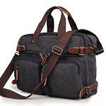 Laptop Backpack Messenger Bag for Men & Women – Convertible Black Rucksack Tote Handbag – Durable & Rugged – For Everyday Use