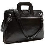 Floto Firenze Slim Briefcase in Black Calfskin Leather