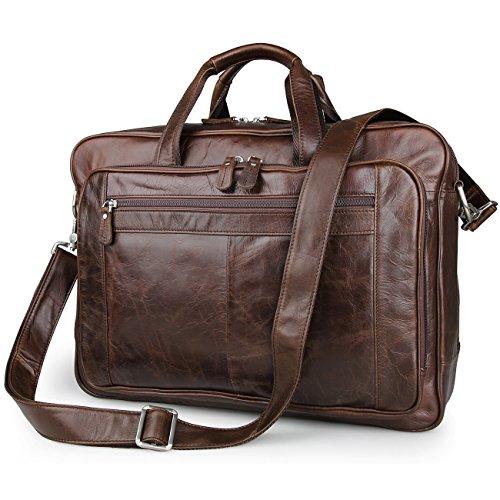 26953891a1bd ESD Vintage Genuine Leather Briefcase Messenger Bag for men Fit 17   Laptop
