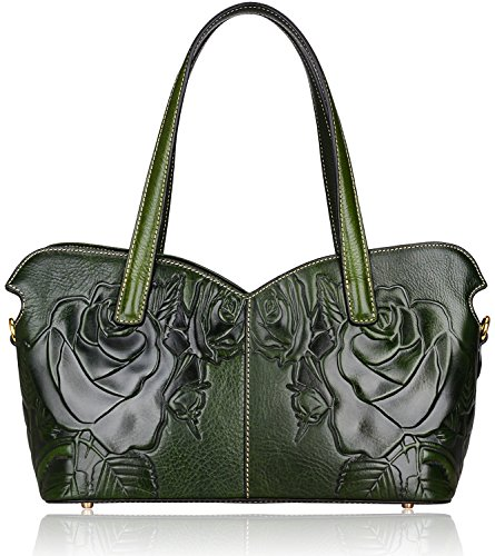 Pifuren Embossed Floral Leather Tote Satchel Top Handle Handbags P98156  (green rose) 5a24346ac9d5c
