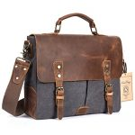 NiceEbag Leather Messenger Bag Vintage Canvas Laptop Shoulder Bag Men Satchel Briefcase Bag Fits Up 13.3 Inch Laptop (Dark Grey)