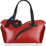 Pifuren Contemporary Designer Leather Tote Bag Nice Handbag PN5300 (One Size, Red)