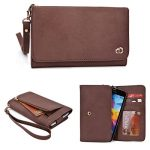 KroO Genuine Leather Universal Smartphone Wristlet Wallet fits Apple iPhone 6 Like Sized Phones