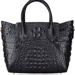Pifuren Women Genuine Leather Embossed Crocodile leather Top-handle handbags P67056 (Black)