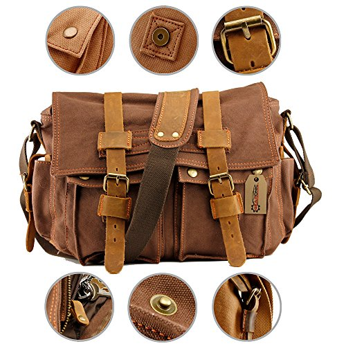 GEARONIC TM Men's Vintage Canvas Messenger Bag Shoulder and Leather Satchel School Military for Notebook Laptop Macbook 11 and 13 inch Air - Coffee