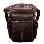 Men Genuine Leather Motorcycle Messenger Belt Hip Fanny Pack Waist Drop Leg Bag