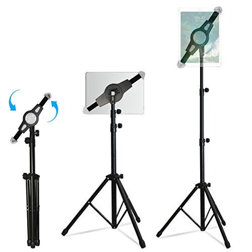 Portable iPad Tablet Tripod Adjustable Stand, Costech Universal 360°Rotatable Height Adjustable with Portable Carry Bag for 7-10 Inch iPad/iPad Mini/Samsung Galaxy Tab and Tablet (Black)