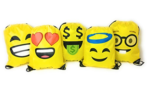 Emoji Bag for Kids (Boys and Girls), Drawstring Backpack for School, Gym, Sports, Games, Toys, Travel, Gift, Birthday Party Favor, Smile, Unisex, Set of 5 Bags