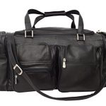 "Piel Leather Traveler 24"" Duffel Bag with Pockets in Black"