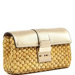 Michael Kors Straw Gabriella Large Corn husk straw Clutch Pale Gold/Gold