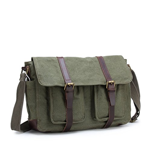 4550f31bf8a8 Retro Leather Canvas 15″ Laptop Messenger Shoulder Bag