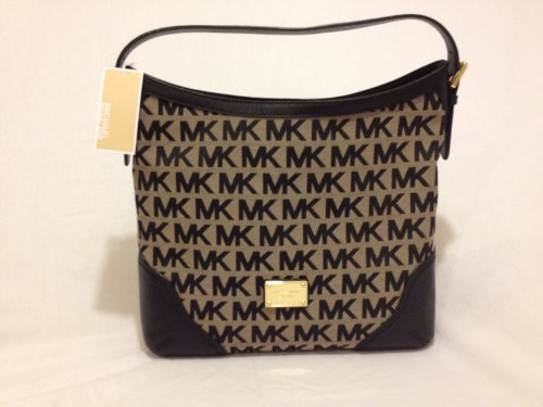Michael Kors MK Signature Millbrook Large Shoulder Bag Handbag - Beige/black/black