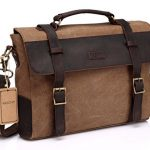 Vaschy Unisex Classic Leather Shoulder Bag Satchels Briefcase with Detchable Strap Camel