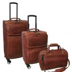 Amerileather Leather Croco-Print Three Piece Set Traveler on Spinner Wheels (#8603-2) (Brown)