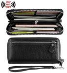 YALUXE Women's RFID Blocking Leather Large Smartphone Wallet Security Zipper Wristlet