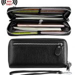 YALUXE Women's RFID Blocking Leather Large Smartphone Wallet Security Zipper Wristlet