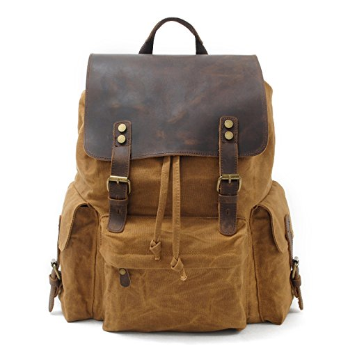 SUVOM Vintage Canvas Leather Backpacks 15.6