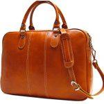 Floto Venezia Slim Olive (Honey) Brown Briefcase Attache Lap-top Case