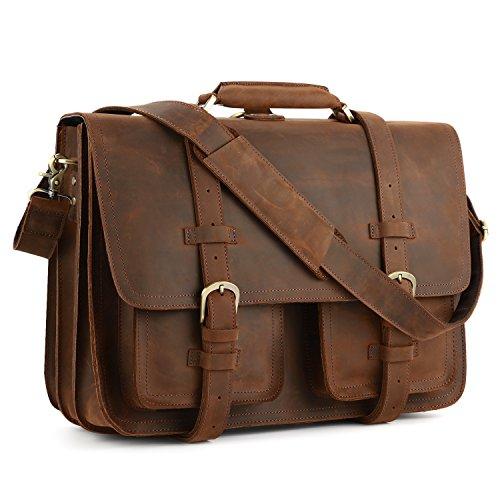 3d9d2836bb Kattee XZ340DN-FBA Real Leather 16″ Laptop Briefcase Large Messenger Bag  Backpack Handbag
