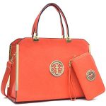 Dasein Women's Structured Designer Satchel Handbag Work Bag Shoulder Bag With Matching Wallet (09-6900 Orange + wallet)