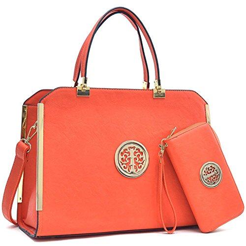 Dasein Women's Structured Designer Satchel Handbag Work Bag Shoulder Bag With Matching Wallet (09-6900 Orange + wallet)