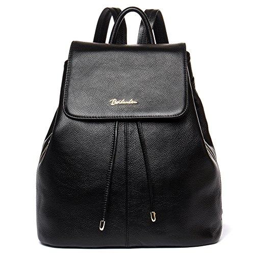 BOSTANTEN Vintage Women's Leather Backpack Casual Daypack Handbags for Ladies & Girls Black