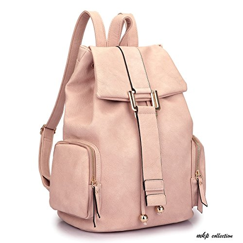 MKP Collection Drawstring Accent Backpack~Beautiful Backpack with Adjustable Straps~Classic Designer Backpack~Multi-Color Choose (2443) Pink