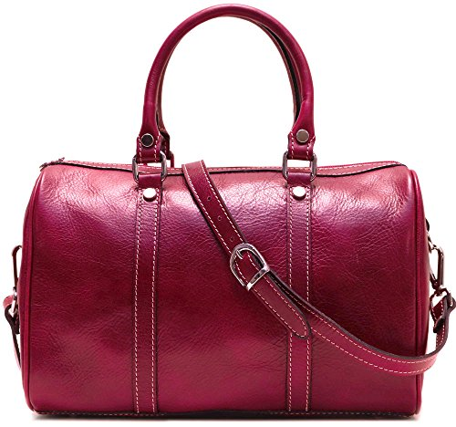 Floto Boston Leather Duffel Bag in Red