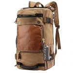 Hiking Daypacks, P.KU.VDSL Vintage Canvas Laptop Backpack for Outdoor Hiking Climbing Camping Mountaineering, Casual Travel Duffel Bag, School Shoulder Bag, Genuine Leather Weekend Bag - Sriceo Series