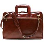 Floto Firenze Slim Briefcase in Vecchio Brown Calfskin Leather