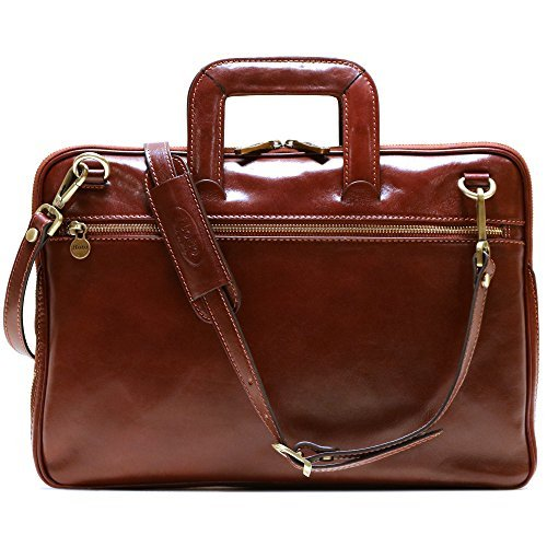 Floto Firenze Slim Briefcase in Vecchio Brown Calfskin Leather