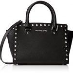 MICHAEL KORS Selma Studded Saffiano Leather Medium Satchel Bag (Black)