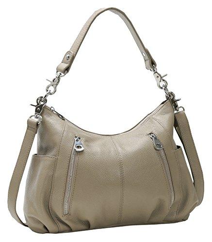 Heshe Women s Leather Shoulder Handbags Cross Body Bags Hobo Totes Top  Handel Bag Satchel and Purse for Ladies (Light Grey-H) c970d55e0f070