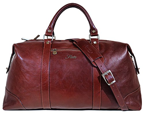 Floto Collection Cabin Bag, Leather Duffel Bag in Brown