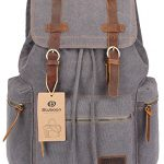 BLUBOON Canvas Vintage Backpack Leather Casual Bookbag Men Rucksack (Grey)