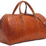 Toscana Duffle Olive (Honey) Brown Stamped Italian Leather Weekender Travel Bag