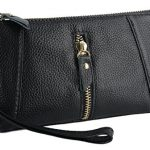 YALUXE Women's Large Capacity Soft Leather Wristlet Clutch Checkbook Wallet Smartphone Holder
