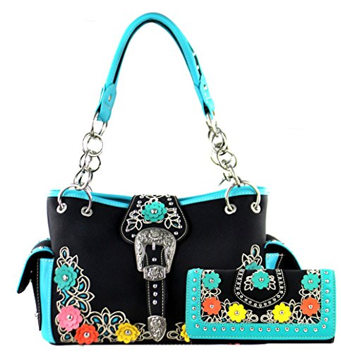 Montana West Buckle Collection Concelaed Carry Floral Handbag Satchel and Wallet (Black)