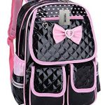 Puretime Girls Cute Pu Leather School Backpack Satchel Travel Bag Princess Style (Black)