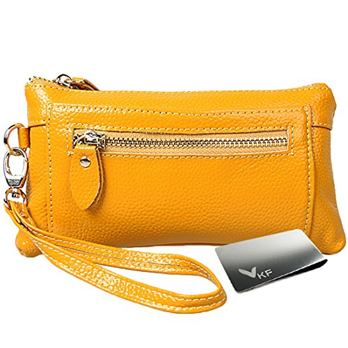 kilofly Genuine Leather Womens Wrist Strap Wristlet Clutch Purse + Money Clip