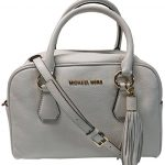 Michael Kors Bedford Medium Tassel Leather Satchel Ecru