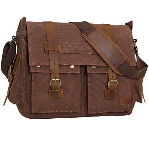 e8043e710c68 Wowbox 17 Inch Men s Messenger Bag Vintage Canvas Leather Satchel bag  Military Shoulder Laptop Bags Bookbag Working Bag for Men and Women