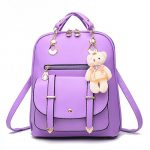 Dunland Fashion Casual Cute PU Leather School Bag Backpack Shoulder Bag for girls Purple