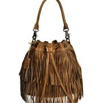 ZLYC Women Dip Dye Leather Bohemian Braided Drawstring Bucket Bag with Tassel Charm