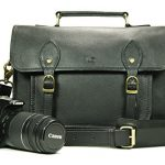 Leftover Studio Pebeled Leather Camera Bag DSLR Messenger Shoulder Case with Removable Camera Caddy 15 Inch Black